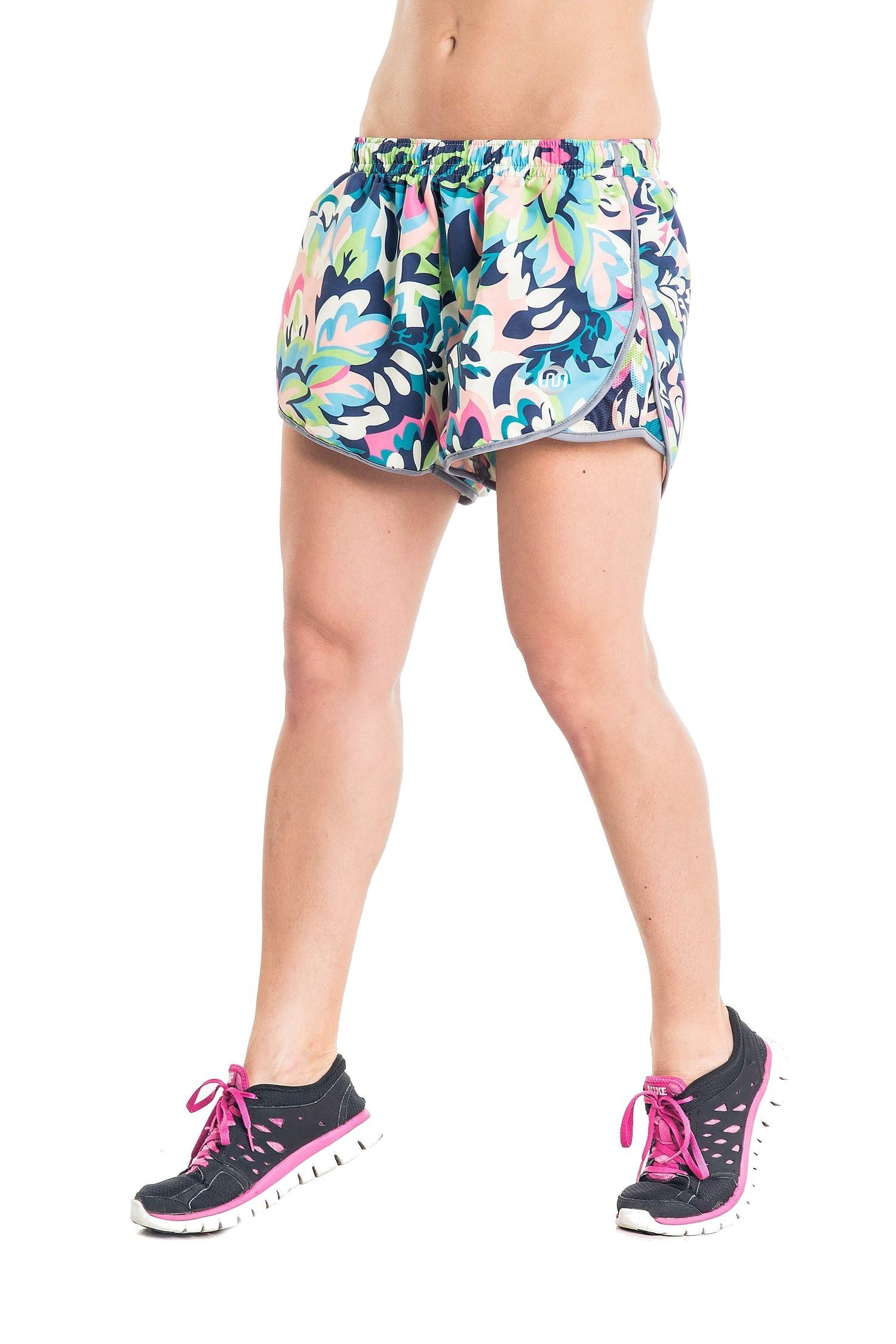 nessi damen shorts dsl kurze hose laufhose fitnesshose atmungsaktiv green flowers prosske. Black Bedroom Furniture Sets. Home Design Ideas