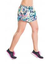 Nessi Damen Shorts DSL kurze Hose Laufhose Fitnesshose Atmungsaktiv Green Flowers