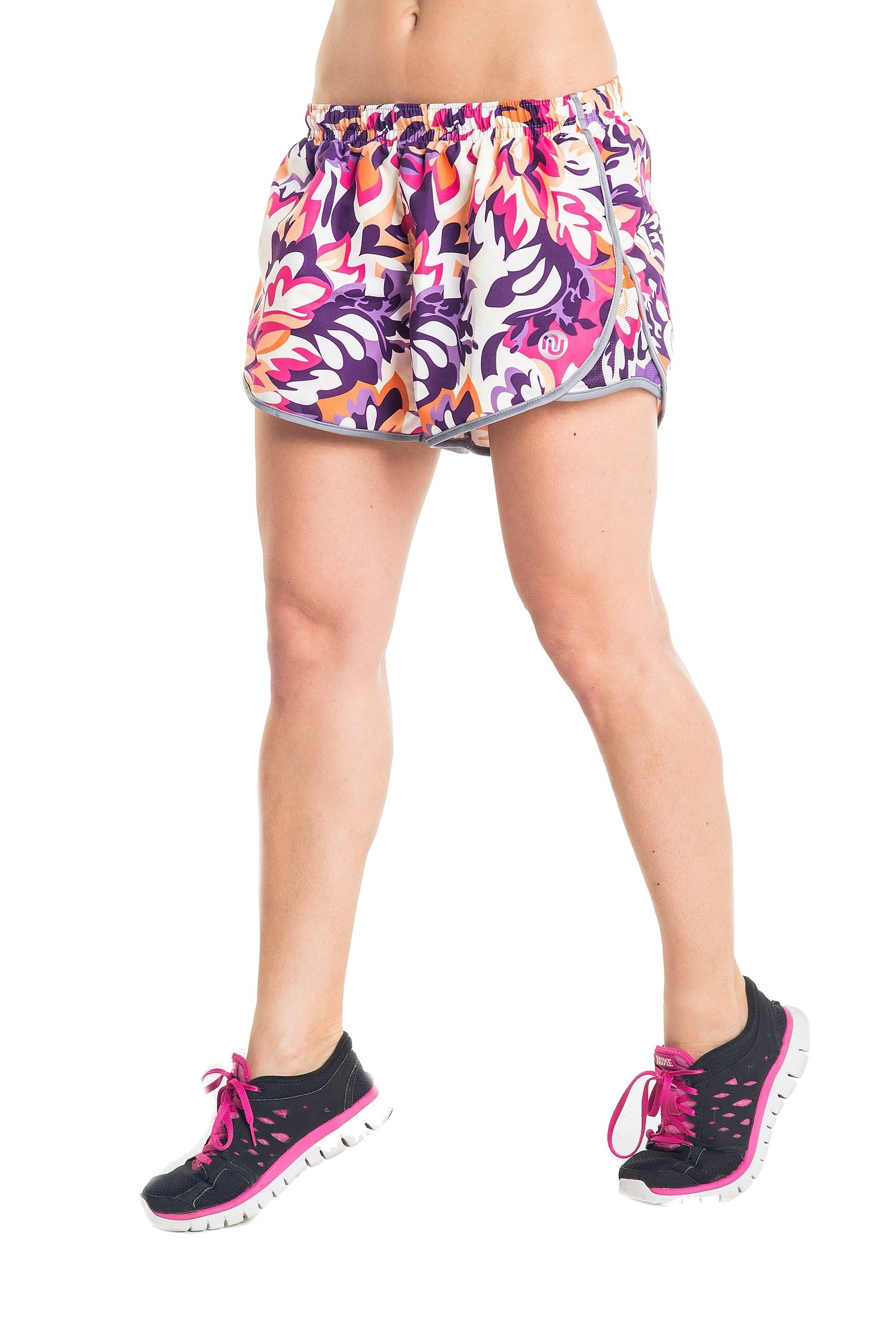 nessi damen shorts dsl kurze hose laufhose fitnesshose atmungsaktiv violet flowers prosske. Black Bedroom Furniture Sets. Home Design Ideas