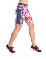 Nessi Damen kurze Leggings OSKK Laufhose Fitnesshose Short Violet Flowers