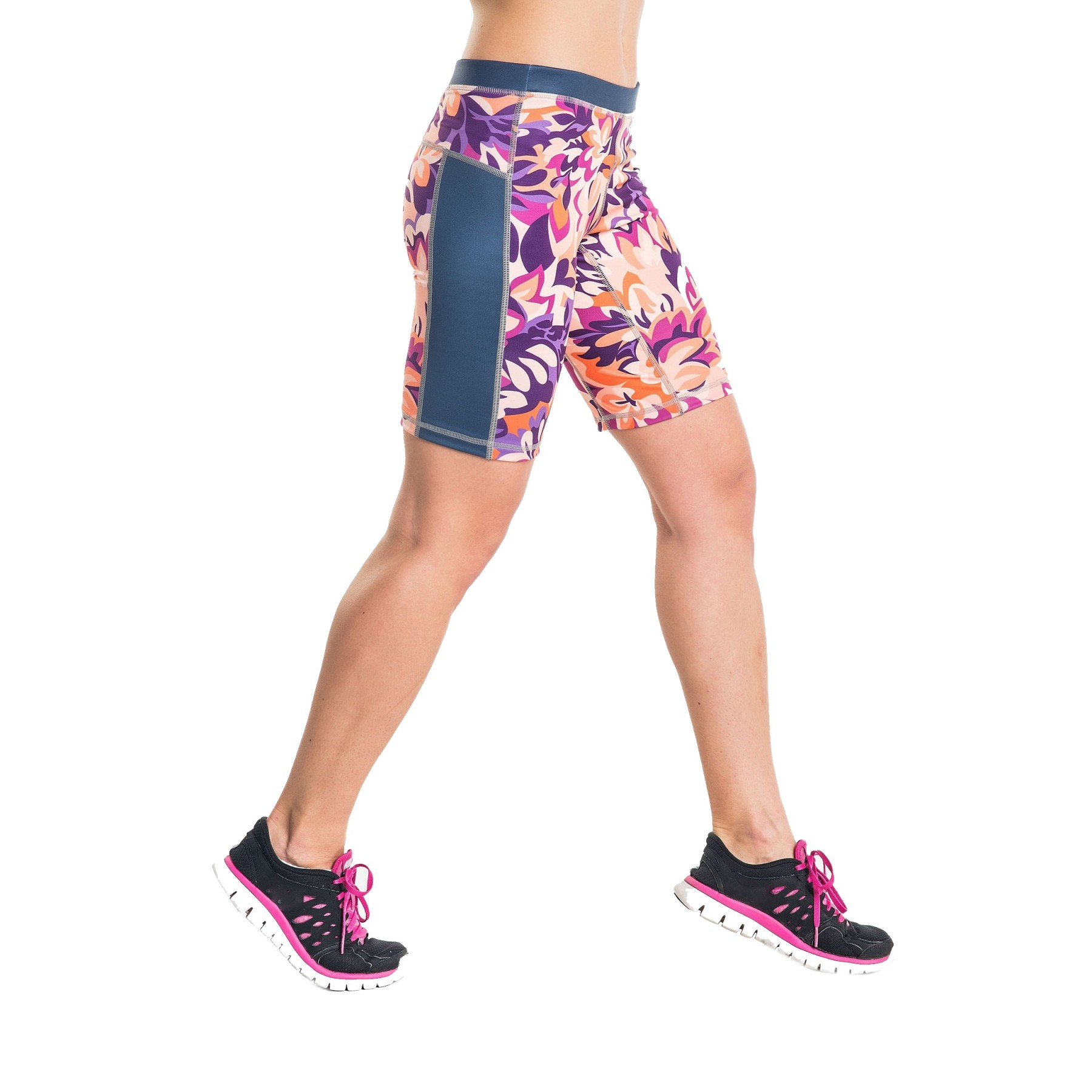 Damen Flowers Fitnesshose Violet Leggings Kurze Short Laufhose Nessi Oskk A4RL5j