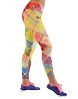 Nessi Damen lange Leggings OSLK Laufhose Fitnesshose Jogginghose Gelbkariert