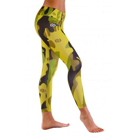 Nessi Damen lange Leggings OSLK Laufhose Fitnesshose Atmungsaktiv Flecktarn