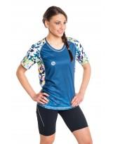 Nessi Damen T-Shirt DK Laufshirt Fitnesshirt Atmungsaktiv Green Flowers