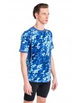 Nessi Herren T-Shirt MK Laufshirt Fitnesshirt Atmungsaktiv Blue Splash