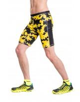 Nessi Herren kurze Leggings MLK Laufhose Fitnesshose Atmungsaktiv Yellow Ink