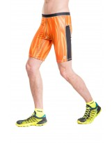 Nessi Herren kurze Leggings MLK Laufhose Fitnesshose Atmungsaktiv Orange Fire