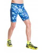 Nessi Herren kurze Leggings MLK Laufhose Fitnesshose Atmungsaktiv Blue Splash