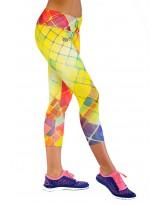 Nessi Damen 3/4 Leggings OSTK Laufhose Fitnesshose Atmungsaktiv Gelbkariert