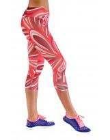 Nessi Damen 3/4 Leggings OSTK Laufhose Fitnesshose Atmungsaktiv Rotekreise