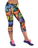 Nessi Damen 3/4 Leggings OSTK Laufhose Fitnesshose Atmungsaktiv Mosaikglas