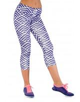 Nessi Damen 3/4 Leggings OSTK Laufhose Fitnesshose Atmungsaktiv Violetweiss