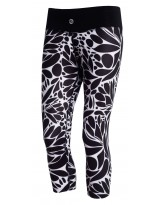 Nessi Damen 3/4 Leggings OSTK Laufhose Fitnesshose Atmungsaktiv Black Leaves