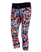 Nessi Damen 3/4 Leggings OSTK Laufhose Fitnesshose Atmungsaktiv Red Leaves